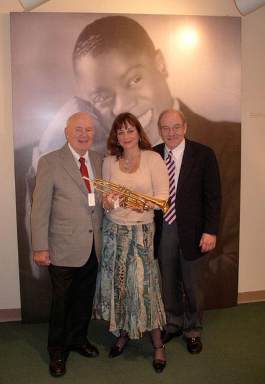 Chuck, Jim Collum with Louis' horn